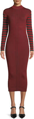 McQ Ribbed Striped Long-Sleeve Midi Dress