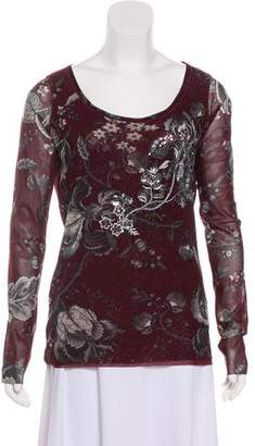 Fuzzi Embroidered Long Sleeve Printed Top