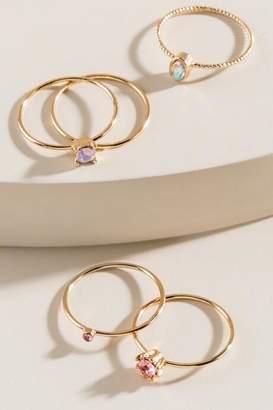 francesca's Casey Brass Band Ring Set - Pink