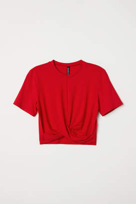 H&M Jersey Top with Knot Detail - Red