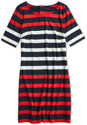 Tommy Hilfiger Adaptive Women Stella Striped Dress with Magnetic Closures at Back