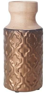 Raymond Waites 9in Stoneware Bottle Neck Antique Copper Vase. Dry Flowers Only.