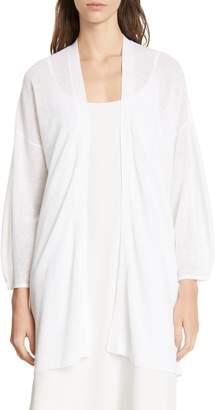 Eileen Fisher Blouson Sleeve Organic Linen & Cotton Cardigan