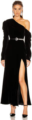Les Rêveries Off Shoulder Puff Sleeve Long Velvet Dress in Black Velvet | FWRD
