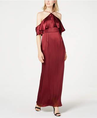 Adrianna Papell Satin Halter-Neck Cold-Shoulder Gown