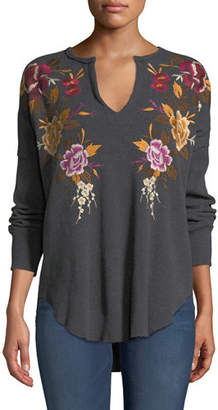 Johnny Was Zosia Floral-Embroidered Thermal Top, Plus Size