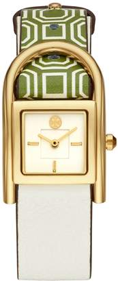 Tory Burch THAYER WATCH, GREEN LEATHER/GOLD-TONE, 25 x 39 MM
