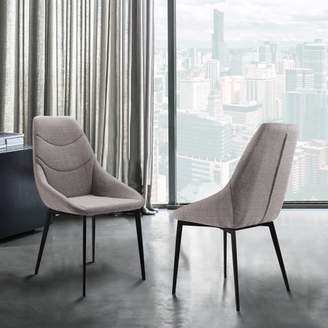 Marelana Sonny Contemporary Dining Chair in Matte Black Finish and GrayFabric - Set of 2