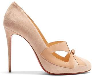 Christian Louboutin - Bow Me Dear 115 Suede Pumps - Womens - Nude