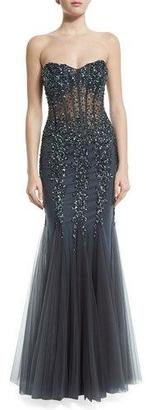 Jovani Strapless Sweetheart Beaded Mermaid Gown $510 thestylecure.com