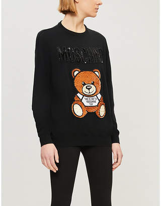 Moschino Teddy-embroidered sequin-embellished wool jumper
