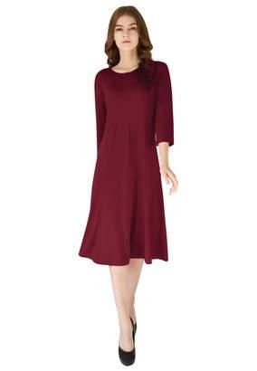 OMZIN Women s a-line Dresses Below The Knee 3 4 Sleeve Plus Size Dress a9a9b8461