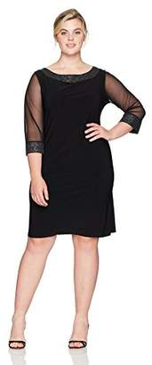 Tiana B Women's Plus Size Glitter Trim Sheer Sleeve Jersey Dress