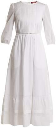 Max Mara Lace-trimmed dobby-dot cotton dress