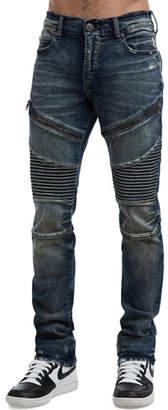 True Religion Men's Rocco Moto Combat Blue Jeans
