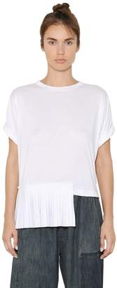 MM6 MAISON MARGIELA Viscose Jersey T-Shirt With Plisse Panel