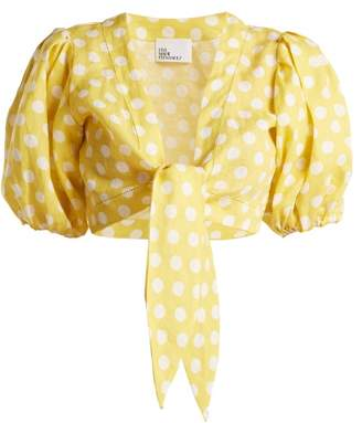 Lisa Marie Fernandez Puff Sleeved Linen Blouse - Womens - Yellow Multi