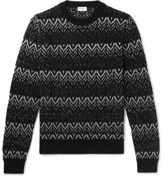 Saint Laurent Slim-Fit Fair Isle Metallic Wool-Blend Sweater