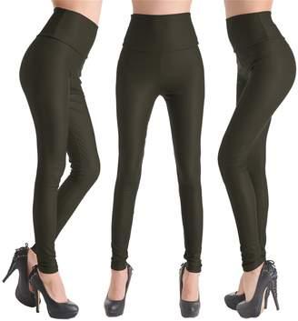 Celine lin Women's PU Leather High Waist Leggings Stretch Pants,M