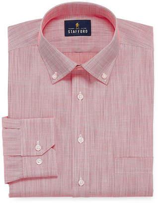 STAFFORD Stafford Slub Linen Look Long Sleeve Broadcloth Dress Shirt
