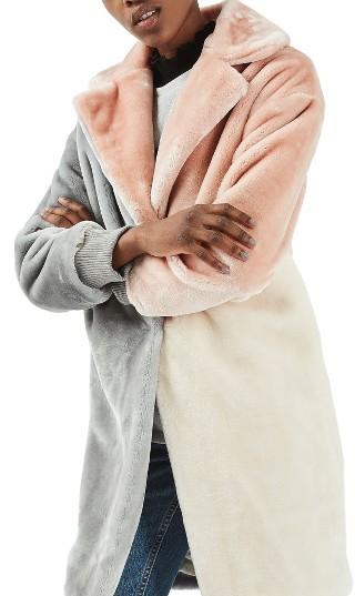 TopshopWomen's Topshop Patchwork Faux Fur Coat