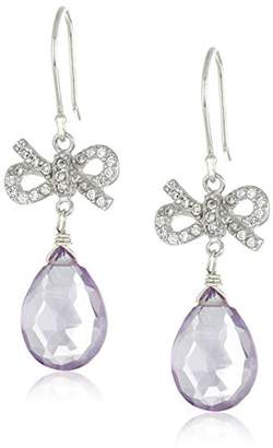 Sterling Silver Faceted Amethyst and Cubic Zirconia Bows Teardrop Earrings
