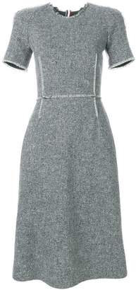Thom Browne Raglan Fitted Pencil Dress With Fray In Red, White And Blue Stripe Donegal Wool