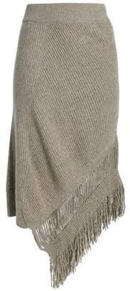 Stella McCartney Asymmetric Fringe-Trimmed Cashmere And Wool-Blend Midi Skirt