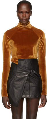 Haider Ackermann Orange Velvet Kierra Turtleneck