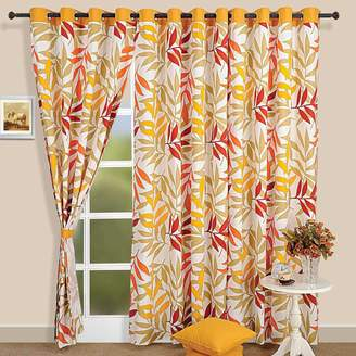 ShalinIndia Tropical Palm Cotton Door Curtains for Bedroom 48 x 95 inch Panels -Gold with White Grommet Top Taupe Orange and Red