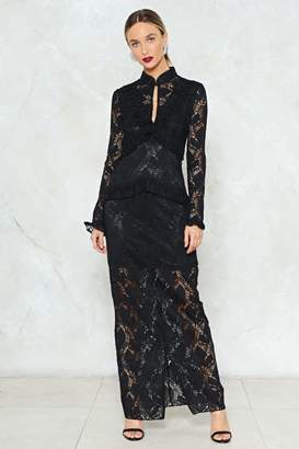 Nasty Gal Down to Earth Lace Maxi Dress