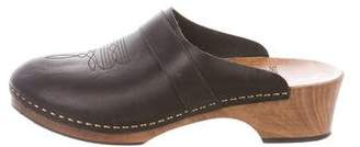 Saint Laurent Leather Round-Toe Clogs