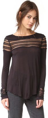 Free People Mesh Insert Roxie Tee $78 thestylecure.com