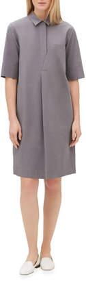 Lafayette 148 New York Casper Elbow-Sleeve Shirtdress with Chain Trim
