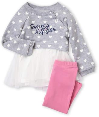 Tommy Hilfiger Newborn Girls) Two-Piece Long Sleeve Heart Print Top & Leggings Set