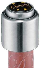 Cilio Stainless Steel Wine Bottle Stopper, Cheers