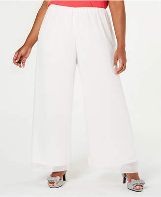 Alex Evenings Plus Size Silky Chiffon Pants