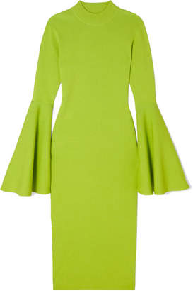 SOLACE London Giana Stretch-knit Midi Dress - Light green