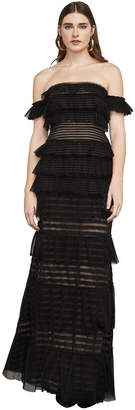 BCBGMAXAZRIA Elora Off-The-Shoulder Lace Gown