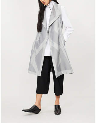Issey Miyake Sunset contrast-panel woven sleeveless coat