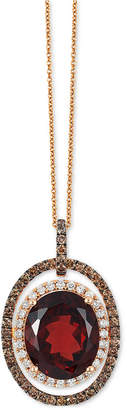 LeVian Le Vian Chocolatier Garnet (5-1/2 ct. t.w.) and Diamond (2/3 ct. t.w.) Pendant Necklace in 14k Rose Gold, Created for Macy's