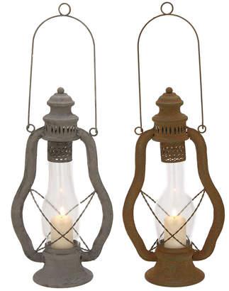 UMA Enterprises Rustic Reflections Iron And Glass Candle Lanterns