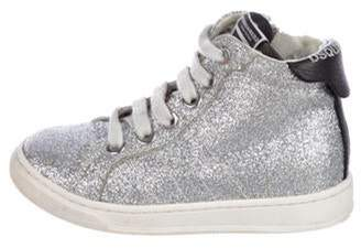DsquaredÂ2 Girls' Glitter High-Top Sneakers silver DsquaredÂ2 Girls' Glitter High-Top Sneakers