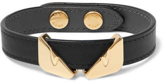 Fendi Leather and Gold-Tone Bracelet - Black