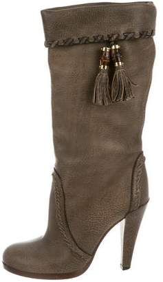 Gucci Leather Tasseled Mid-Calf Boots
