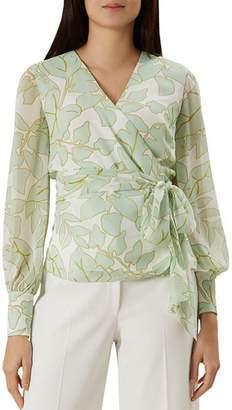 Hobbs London Maria Leaf-Print Wrap Top - 100% Exclusive