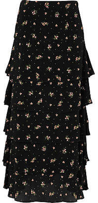 59c69d761fc River Island Womens Black ditsy floral print tiered maxi skirt