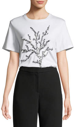 Oscar de la Renta Crewneck Short-Sleeve Sequin-Embroidered T-Shirt