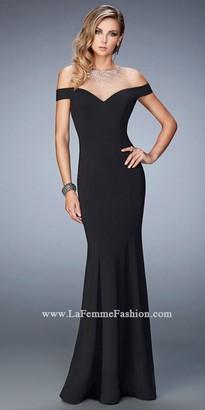 La Femme Off The Shoulder Illusion Prom Dress $398 thestylecure.com