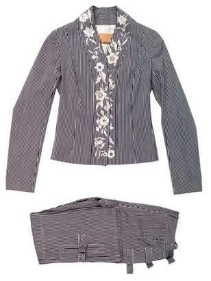 John Galliano Striped Mid-Rise Pantsuit